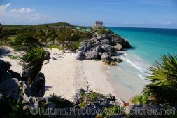 Empty beach area at the Tulum Mayan Ruins site.jpg