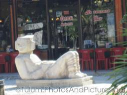 Mayan statue in front of Tulum restaurant and bar.jpg
