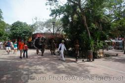 Performers in fancy Mayan Costumes at Tulum Ruins shopping center.jpg