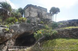 Ancient temple and small cavern underneath at Tulum Ruins.jpg
