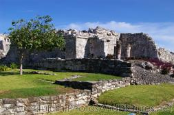 Crumpled Mayan ruin with pillars in Tulum.jpg